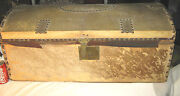 1840 American Primitive Country Hide Plank Wood Dome Chest Trunk Brass Hardware