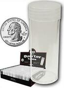 Case 500 Bcw Round Clear Plastic Quarter Coin Tubes W/screw On Caps Tube Holders