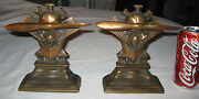 Antique Aviation Airplane Spin Propeller Engine Art Statue Cast Iron Bookends