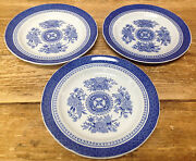 Fitzhugh Spode Blue White Floral Asian Chinoiserie Y2988 3 Bread Plates Fine
