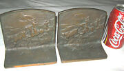 Antique American Wild West Cowboy Horse Cow Cattle Cast Iron Statue Bookends