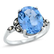 5 Ct. Sim Aquamarine And Pearl Antique Style 925 Sterling Silver Ring     455