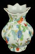 Vintage Deco Dresden Inspired Floral Foliage Scalloped Small Bud Vase Germany 4