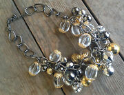 Joan Rivers Signed Bauble Beads Grey Gold Crystal Couture Cluster Necklace Qvc 4