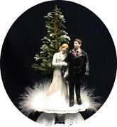 Romantic Bride And Groom Top Figure Winter Snow Snowing Wedding Cake Topper White