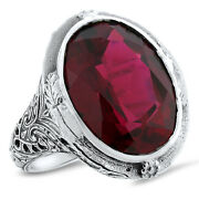 19 Ct Red Lab Ruby Heavy Victorian Antique Style 925 Sterling Silver Ring  582
