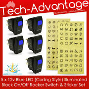 5 X 12v Carling Style On/off Rocker Blue Led Illuminated Switches And Stickers