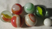 Lot 10 1940's - 1950's Vintage Boy Man Toy Game Glass Art Marbles 6 Total 1