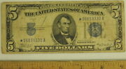1934a Silver Certificate Star Note Paper Currency Very Fine Condition 5 Bill