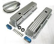 58-86 Chevy Tall Polished Aluminum Finned Valve Covers + 12 Air Cleaner Kit Sbc