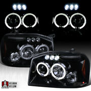 Fit Nissan 2001-2004 Frontier Black Smoke Led Halo Projector Headlights Pair