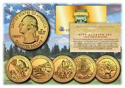 2012 24k Gold National Parks America The Beautiful Coins Set Of All 5 Quarters