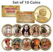 Famous Native Americans Sacagawea U.s. 1 Dollar 10-coin Complete Set Indians