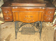 Antique New Home Wood Cast Iron Sewing Machine Castor Wheel Cart Table Singer