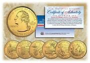 2009 Gold Us Mint Territories Quarters Complete Set Of 6 Coins With Capsules