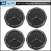 Oem Center Cap Raised Logo Gray And Chrome Set Of 4 For Mercedes Benz New