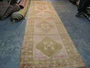 Antique Turkish Oushak Ushak Hand Knotted Wool Rug Gallery Runner 3and0399 X 15and0396