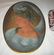 Antique Bradley And Hubbard 3-d Cast Iron Lady Bust Wall Art Plaque Oil Painting