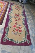 Antique / Vintage Primitive American Hand Hooked Rug Runner 2and0399 X 7and0399 Fabric