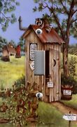 Light Switch Plate And Outlet Covers Primitive Country Americana Outhouse Raccoon