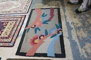 Primitive Vintage American Hand Made Wool Hooked Rug 54 X 32 Art Deco 2and0399x4and0396