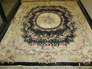 Vintage Chinese Aubusson Rug Hand Knotted Silk 8and039 X 10and039