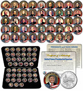 All 45 United States Presidents Colorized 2009 Dc Quarters Coin Set Us W/box Coa