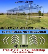 Batting Cage Net 10and039 X 12and039 X 60and039 24 42ply With Door And Frame Baseball Softball