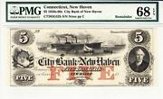 1850and039s-60and039s 5 Connecticut New Haven Pmg Superb Gem Unc. 68epq-wow Rare Grade