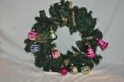 Christmas Green Hanging Wreath 19.5 Bells Glass Ornaments Indents +++ Cute