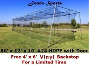 Baseball Batting Cage Net 10and039 X 12and039 X 60and039 24 Hdpe 42ply Netting With Door