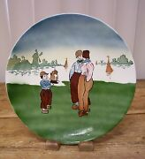 W St Prussia Antique Plate Decorative Toy Sail Boat Windmill People Hand Painted