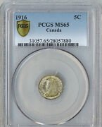 Canada 1916 5 Cents Pcgs Graded Ms65 High Grade Trends For 1750 Ms Unc Slabbed