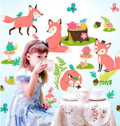 Wallies Woodland Tea Party Wall Stickers Over 30 Peel And Stick Decals Fox