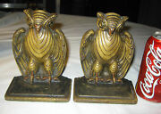 Antique Art Deco Bradley And Hubbard Cast Iron Medieval Gothic Owl Bookends Bronze