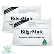 2 X Boat Bilge Fuel And Oil Safety Absorbent Absorbers Mat Pillow Sponge Cleaner