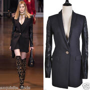 F/w 2014 Look 22 New Versace Black Coat With Pony Hair Sleeves 38 - 2