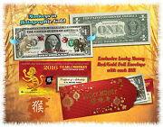 Lot Of 25 Chinese Lunar New Year 24kt Gold Lucky Money 2016 Year Monkey 1 Bills