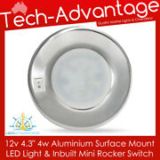 12v 4 4w Surface Mounted Interior Boat Cabin Caravan Led Light And Switch