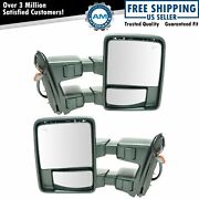 Towing Mirror Power Folding Telescoping Heated Smoked Signal Pair For Ford F350