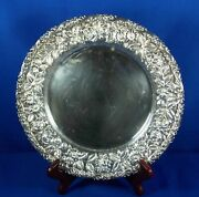 .925 Sterling Silver Bailey Banks And Biddle Co. Plate Floral Repousse