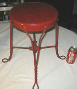 Antique Childs Size Boy Girl Wrought Iron Toy Ice Cream Stool Plant Stand Chair