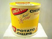 Vintage Lunch Box Potato Chips Can Paper Box Tub Tube Safeway Stores 18 Oz Chip