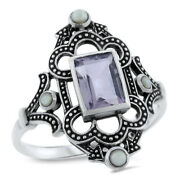 Genuine Amethyst Pearl Antique Victorian Style 925 Sterling Silver Ring  838