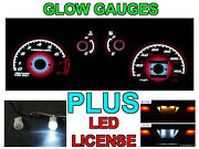 Jdm Red Glow Gauges + Led License Bulbs For 1988-1989 Honda Crx Si With Tach Rpm