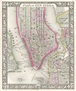 Map Of New York City And Brooklyn, 1866 Vintage Art Print Mitchell Poster 38x32