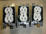 Leviton Set Of 3 White 15a 125v Electrical Outlet W / Metal Housing Boat
