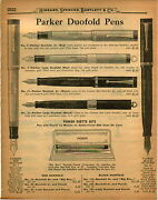 1926 Paper Ad 2 Pg Parker Duofold Lucky Fountain Pen Pens Store Display Cabinet