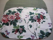 2 Waverly Placemats Pleasant Valley Cabbage Roses Shabby Grape Vines Pink Red
