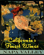 Napa Valley California Finest Wines Grapes 16x20 Vintage Poster Repro Free S/h